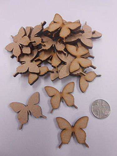 PixieBitz 30mm Decorazioni in Legno MDF a Forma di Farfalle per Artigianato–Confezione da 30