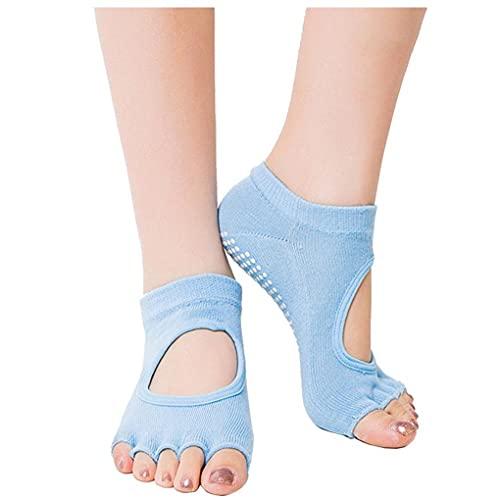 Ruluti Unisex Tolose No-Skid Grip Yoga Pilates Calcetines para Ballet Pilates Barre Dance Light Blue