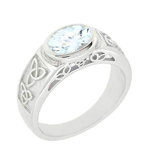 BL Jewelry Sterling Silver Natural Gemstone Amethyst Citrine Garnet Peridot Celtic Knot Ring (7, Aquamarine)