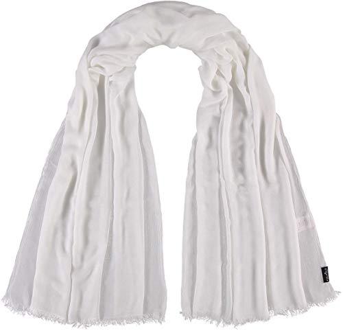 FRAAS Damen-Schal aus 100% Viskose - 100 x 200 cm Größe - Modische einfarbige Stola mit Fransen - Perfekt für den Frühling und Sommer Weiß
