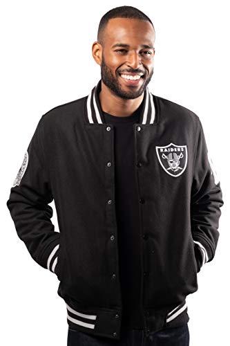 Ultra Game NFL Las Vegas Raiders Mens Classic Varsity Coaches Jacket, Team Color, Medium