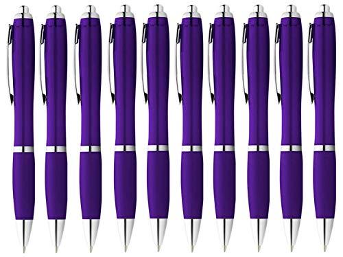StillRich Industries 10 Stück lila Regenbogen Kugelschreiber Set Premium Kulli, ballpoint pen, hochwertige, ergonomische und blauschreibende Kugelschreiber (lila)