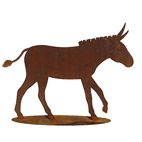 EQT-TEC Gartendekoration Edelrost Esel auf Platte Rostfigur 50x64cm Garten Gartenstecker Dekoration Natur Tiere