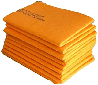 The Newest Original German Shammy - Commercial Grade Chamois Cloth Drying Towel and Cleaning Rag (7, Orange (Large)