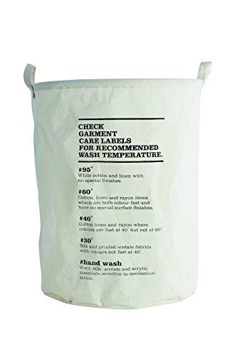 House Doctors - Laundry Bag - Wäschekorb - Wäschesack - Motiv: Waschanleitung Ø 40 cm Höhe 50 cm
