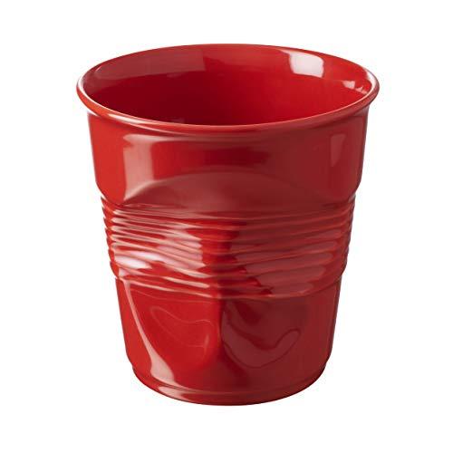 REVOL - Pot à ustensiles Froissé en porcelaine - Rouge piment, H. 15 x Ø 14,2 cm - 100 cl