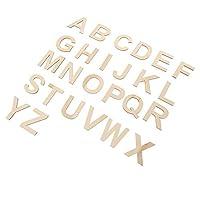 HEALLILY 78Pcs木製の手紙木製のアルファベットの手紙工芸品のおもちゃの切り欠きを学ぶ家の装飾の子供のためのdiyの結婚式のディスプレイの装飾