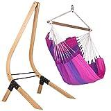 LA SIESTA Orquídea Purple - Cotton Basic Hammock Swing Chair with FSC Certified Spruce Stand
