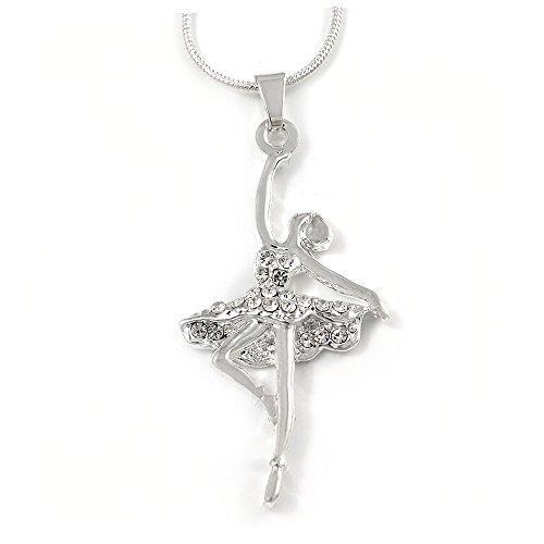 Avalaya - Colgante de bailarina de cristal con cadena de serpiente en tono plateado, 42 cm de largo y 4 cm de extensión