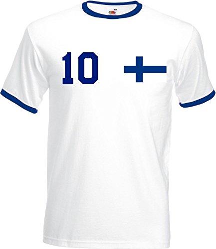 WM Finnland Finland Herren T-Shirt Beidseitig Bedruckt mit Wunschname & Zahl, Weiß, Gr. S