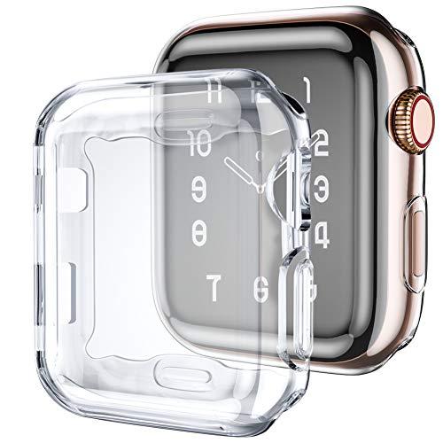 LEOMARON - Funda con protector de visualización para Apple Watch Series 6/SE 5 4, 2 unidades para iWatch 44 mm, TPU suave, transparente