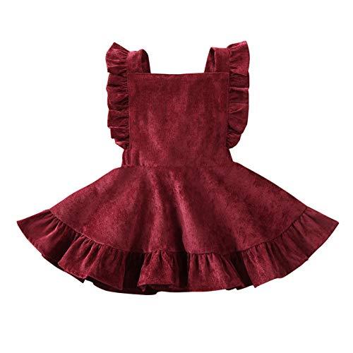 MERSARIPHY Toddler Tutu Dress Infant Sleeveless Vest Skirt Baby Backless Cute Romper for Girl Ruffle Skirt, Ages for 6Mos-5T (Wine, 12-24 M)