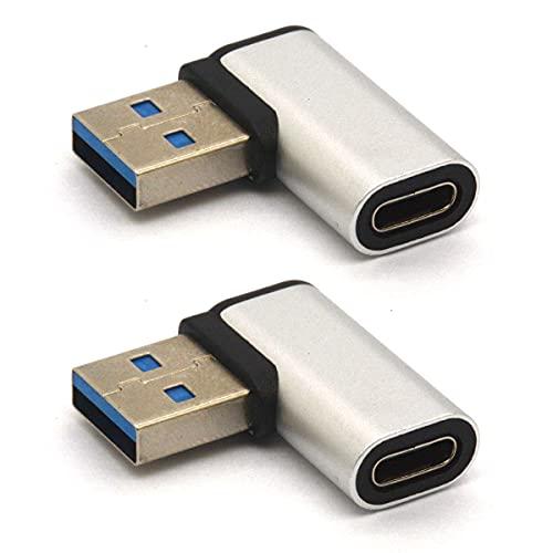 Tomost Adaptador USB C a USB en ángulo recto, adaptador USB A a C de 90 grados, USB 3.0 macho a conector USB C hembra compatible con cables para tabletas como Samsung Note 10 Google Pixel (derecha))