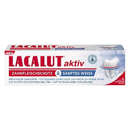 LACALUT AKTIV ZAHNFLEISCHSCHUTZ & SANFTES Weiß ZAHNCREME, 75ml Zahnpasta, sofort spürbare Straffung und Festigung des Zahnfleischs, Zahncreme für natürlich weiße Zähne, 1 x 75ml
