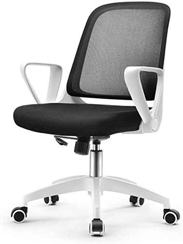 Silla giratoria de oficina, silla de cocina, taburetes de malla, respaldo alto, silla ejecutiva, silla de escritorio, silla de ordenador (color: blanco, tamaño: H (60-60,7 cm)