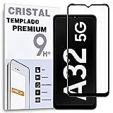 REY Protector de Pantalla Curvo para Samsung Galaxy A32 5G, Negro, Cristal Vidrio Templado Premium, 3D / 4D / 5D, Anti Roturas