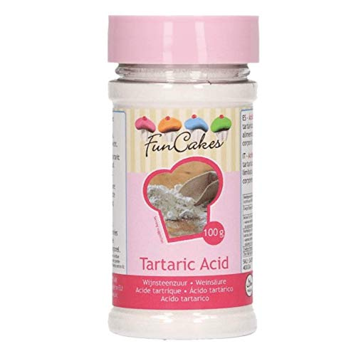FunCakes Ácido Tartárico FunCakes: Conservante Natural, Estabilizador para las Claras de Huevo, Usado para Cocinar y Hornear. 100g