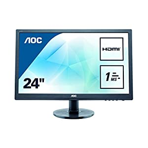 "AOC E2460SH 24"" LED FHD (1920x1080) 1ms monitor with Built-in speakers. (VGA, DVI, HDMI) - Black 20"