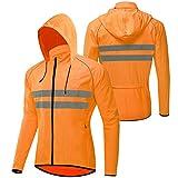Hombre Chaqueta Ciclismo,Ultra-Light Bicicleta Chaqueta de Viento,Transpirable Chaqueta de Ciclismo,Reflectante Chaqueta Ciclista,Chubasquero Ciclismo,para Deportes y al Aire(Size:XXXL,Color:Naranja)