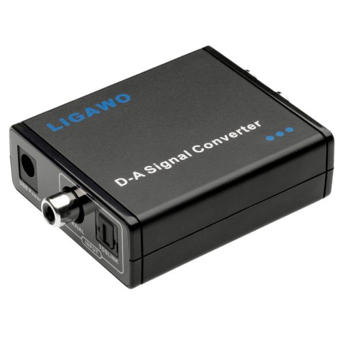 Ligawo 6526629 Audio Konverter (Eingänge: 1x Koax/1x Toslink, Ausgänge: 1x 3,5mm Klinke/1x Cinch) inkl. USB Stromkabel (0,8m) schwarz