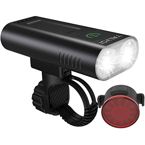 Bike Lights Front and Back Rechargeable Bicycle Light Set 6400mAh 1200lumen Super Bright Headlight with Taillight Fit All Hybrid,Road, MTB Powerful Front and Rear Cycling Light Easy to Install