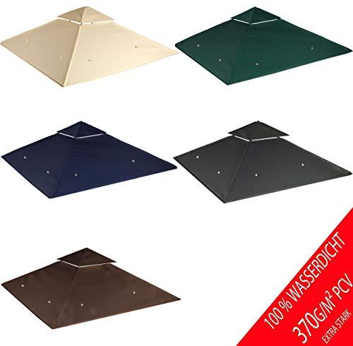 freigarten.de Ersatzdach für Pavillon 3x3 Meter Sand Antik Pavillon Wasserdicht Material: Panama PCV Soft 370g/m² extra stark Modell 6 (Beige)