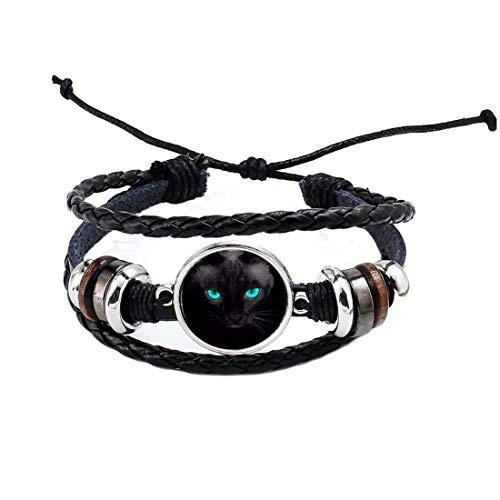 Pulsera de ojos azules de gato negro brazalete de cristal cúpula de la joyería de las mujeres de los hombres, joyería del gato, regalo para ella, PU006