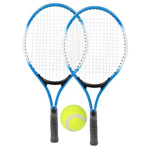 Raqueta de Tenis Aleación de Hierro Niños Principiantes Práctica Accesorio de Raqueta con Pelota y Bolsa de Transporte(Azul)