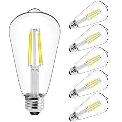 LED Edison Filament Decor Light Bulbs, Amber White 2200K, Dimmable, 4 Watts(40W Equivalent), 300 Lumen, E26 Base, UL Listed, 6-Pack