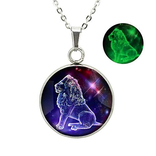 Dunbasi 12 Sternzeichen Kette Edelstahl Nachtleuchtend Schmuck Anhänger Glas Cabochon Silber Sternbild Halskette für Frauen Herren (Löwe)