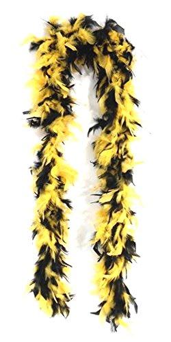 Tamiso Federboa, buschig weich, 180cm lang, gelb - schwarz (z.B. für Fans von München, Dresden, Dortmund.)