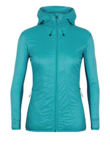 icebreaker Merino Damen Women's Hyperia Lite Hybrid Hooded Jacket Daunenmantel, Blaugrün, S