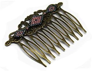 Pettine rombo vetro giapponese corallo grigio nero ottone bronzo accessorio capelli regalo nozze personalizzato natale ami...