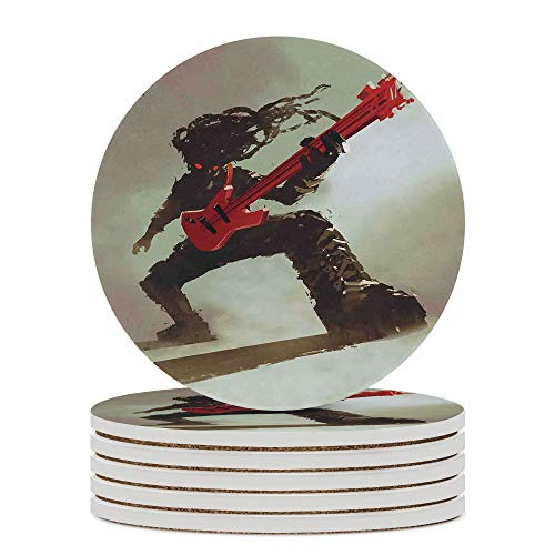 Coaster, Ceramic Drink Coaster for Tabletop Protection,Fantasy,Rocker Guitarist Playing Bass,Suitable for Kinds of Cups, Wooden Table, 3.9 Inches No23022 Set of 6