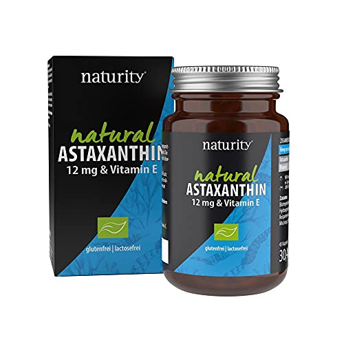 NATURAL ASTAXANTHIN 12 mg & Vitamin E, hochdosierter, natürlicher Komplex mit Astaxanthin aus Blutregenalge plus Vitamin E, für den Zellschutz (45 Kapseln)