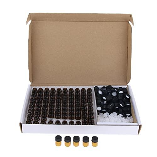 Spray de 100 piezas de aceite esencial de cristal vial Sample Dram, botella fina de cristal pequeña, botella de prueba de perfume ámbar, herramienta separada (especificaciones: 1 ml)