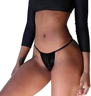 DKX Women Plus Size Hot Brazilian Bottoms Sexy Cheeky Ruched Solid Color Lingerie Underwear High Cut Swimsuit (Color : Black, Size : XXL)