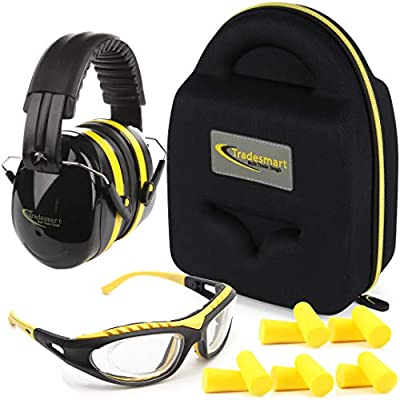 TRADESMART Shooting Range Earmuffs and Glasses – Ear and Eye Protection for The Gun Range with Protective Case, – UV400 Anti-Fog and Anti-Scratch, Clear Safety Glasses – NRR 28 (Yellow)