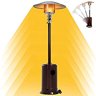 JINGOU Patio Heater 48000 BTU Propane Stainless Steel Outdoor Heater with Reflector Cover Liquid Gas Heater Adjustable Thermostat Floorstanding Stove Heater, Not Including Hose and Regulator