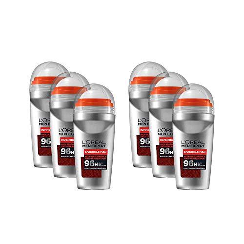 L'Oréal Men Expert Desodorante para hombre de alto rendimiento contra el olor durante 96 horas, incluye microabsorción de humedad, Invincible Man 6 x 50 ml