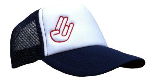 Vintageoutlet.de Trucker Cap mit Stick Shocker Hand Mesh Kappe MŸtze Tuning VW Sign Kult NEU!, dunkelblau