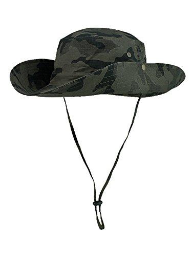 WANYING Damen Herren Outdoor Sonnenschutz Bucket Hut Fischerhut Baumwolle Two Way to Wear für Kopfumfang 55-62 cm Armee Grün Camouflage