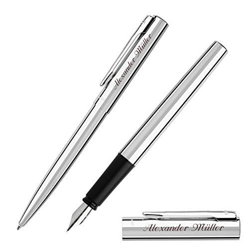 WATERMAN Schreibset GRADUATE Chrom C.C. mit Gravur Füllfederhalter und Kugelschreiber
