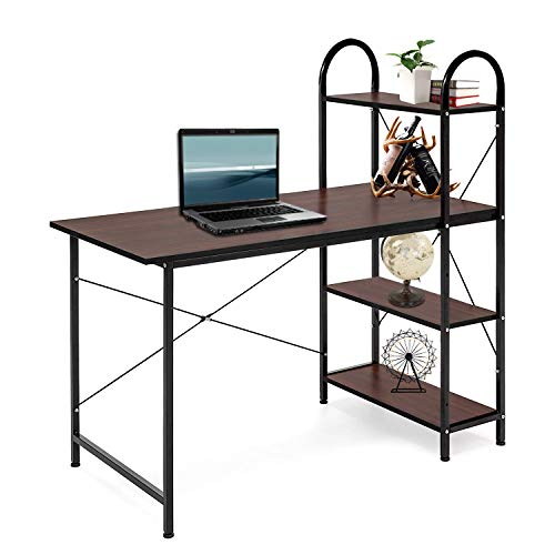 ORAF HShaped Desk Corner Computer Desk PC Laptop Home Office Desk Modern Style Table Workstation with 4 Tier BookshelvesEasy to Assemble Scratch Resistant Tabletop Brown
