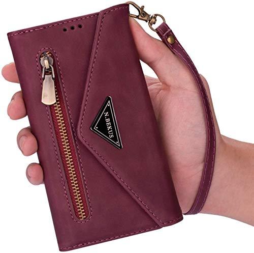 Qjuegad Kompatibel mit Handykette Samsung Galaxy S20 Ultra Hülle Leder Handytasche,Schultertasche für Smartphone Handyhülle Reißverschluss Brieftasche Geldbörse mit Kordel Bookstyle Klapphülle,Rot