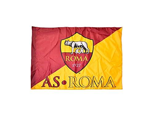 Bandiera Ufficiale Roma. Modello Bicolore con Stemma AS Roma 1927. Colore Giallo Rosso. Prodotto su licenza del club. 70x100 cm