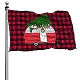Feliz Navidad Copo de nieve de invierno a cuadros de búfalo rojoBandera de camión de árbol Bandera de poliéster cosida grande de 4 x 6 pies Bandera estándar colgante exterior