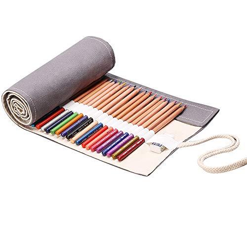 Wankd 72 Slots Leinwand Stifterolle, Retro Pencil Wrap Roll up Holder Rollentasche Federmappe Schlamperrolle Mäppchen Bleistiftkasten Stifte