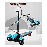 Dzwyc Scooter con Pedal Light Scooter para niños para niños Scooter, Altura Ajustable Plegable Magro para dirigir para niños niños y niñas de 3 a 10 años Patinetes (Color : Blue)