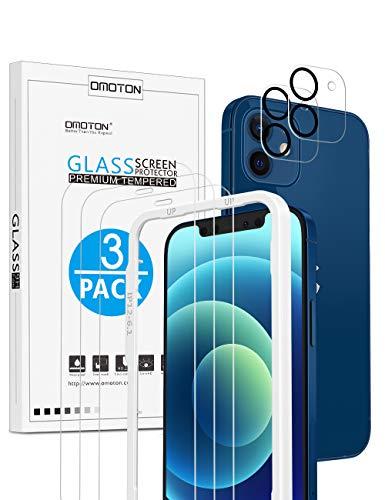 OMOTON für iPhone 12 Panzerglas mit Rahmen-Installationshilfe, kompatibel mit iPhone 12 Kamera Panzerglasfolie, [3+2 Stück], [Anti- Kratzer], [Bläschenfrei], [9H Härte], [HD-Klar]